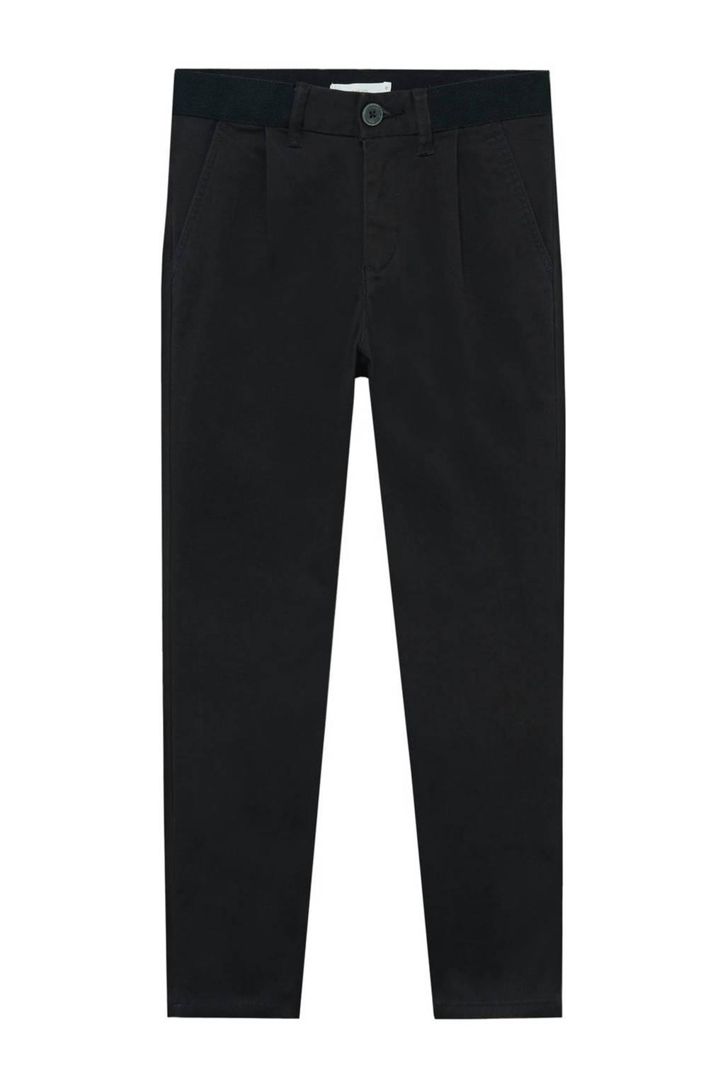 Mango Kids straight fit broek zwart, Zwart