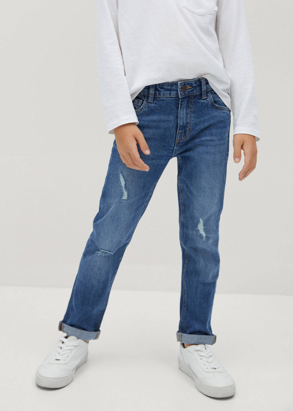 Mango Kids regular fit jeans met slijtage stonewashed, Stonewashed