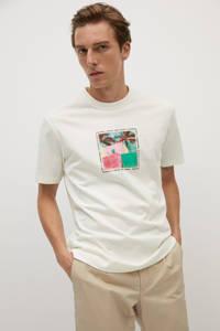 Mango Man T-shirt met printopdruk ecru, Ecru