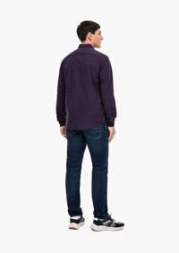 s.Oliver geruit regular fit overhemd marine/donkerrood