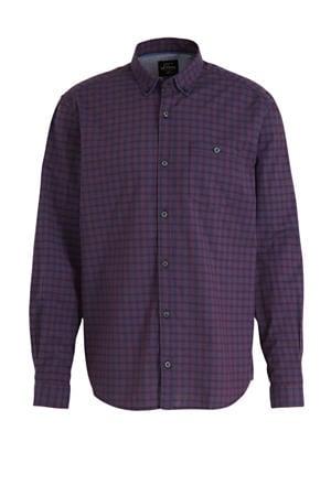 geruit regular fit denim overhemd marine/donkerrood