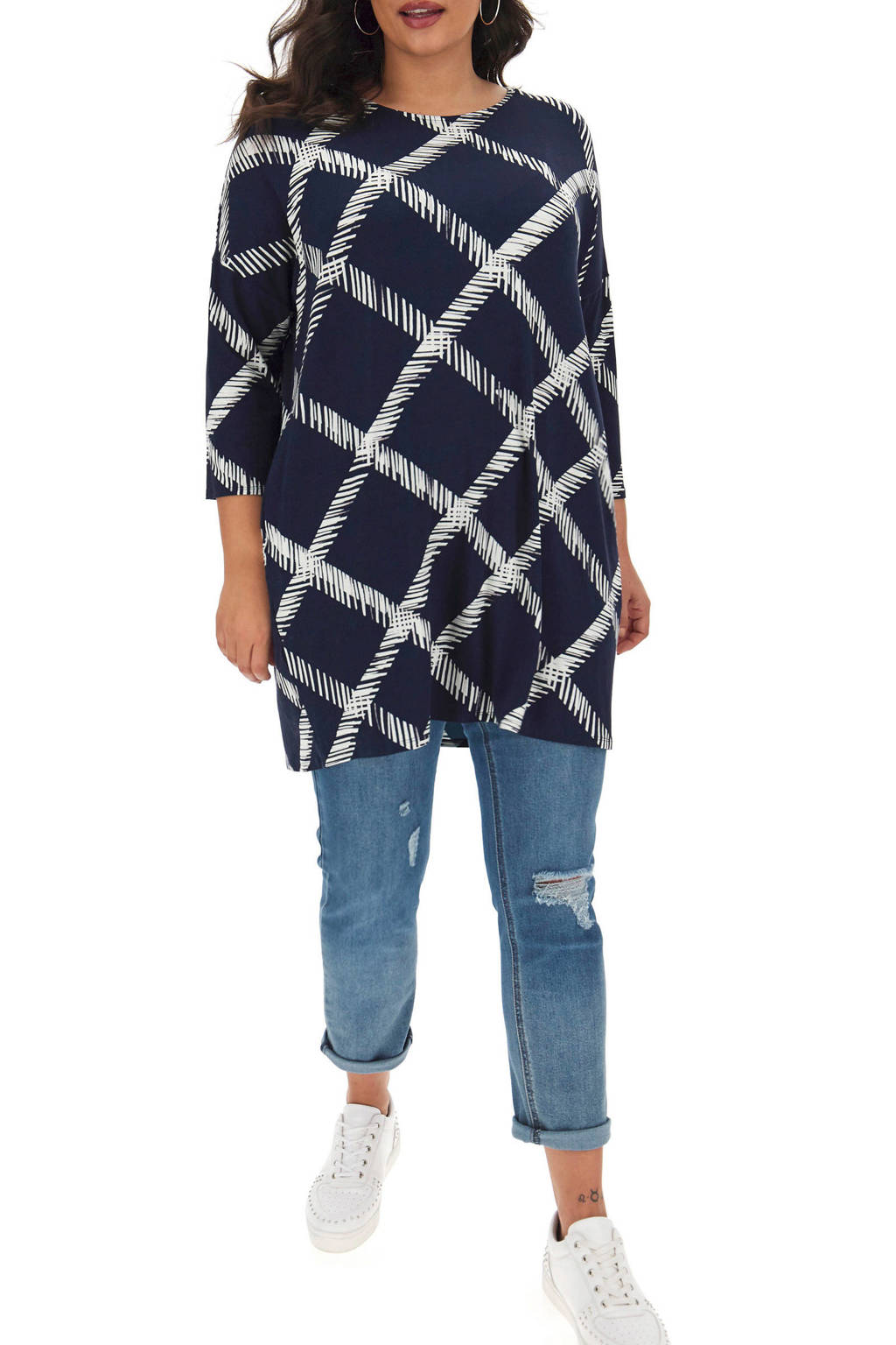 Simply Be tuniek met all over print donkerblauw/wit, Donkerblauw/wit