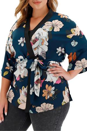 gebloemde kimono donkerblauw