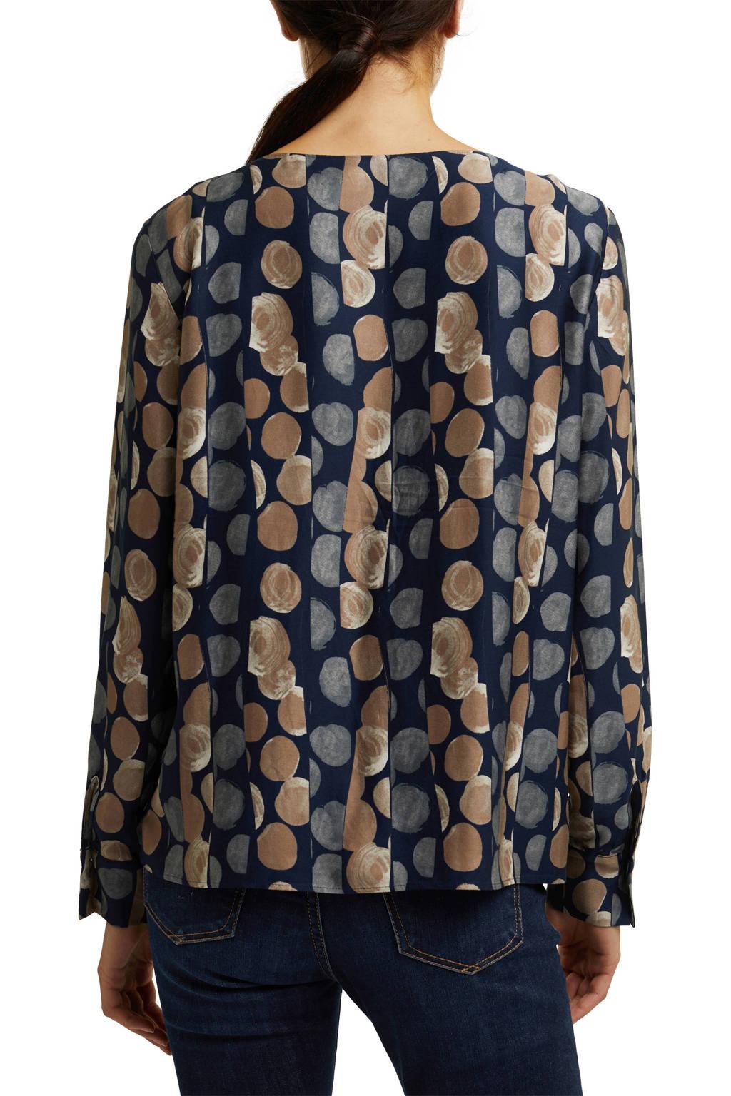 ESPRIT Women Collection top met all over print blauw/zand, Blauw/zand
