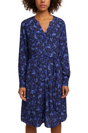 gebloemde blousejurk zwart/donkerblauw/lichtblauw