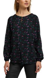 edc Women top met all over print zwart/donkergroen/paars, Zwart/donkergroen/paars