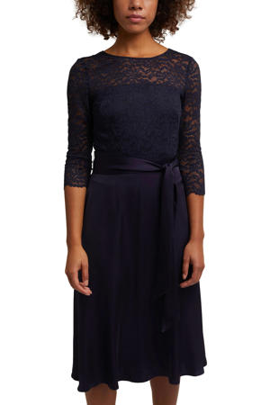 semi-transparante jurk met kant donkerblauw