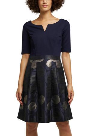 A-lijn jurk met printopdruk en glitters donkerblauw/goud/zwart