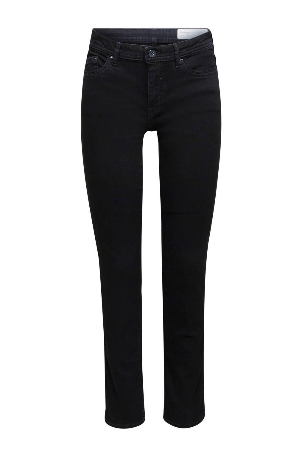 edc Women straight fit jeans zwart, Zwart