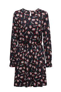 edc Women jurk met all over print en open detail zwart/petrol/rod, Zwart/petrol/rod
