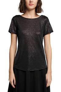 edc Women T-shirt met glitters zwart, Zwart