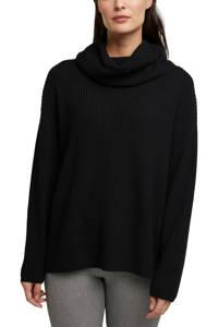 ESPRIT Women Casual trui met rolkraag en kasjmier zwart, Zwart