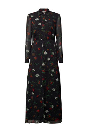 semi-transparante maxi blousejurk met all over print donkerblauw