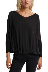 ESPRIT Women Casual semi-transparante top zwart, Zwart