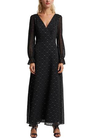 semi-transparante maxi jurk met glitters zwart/zilver