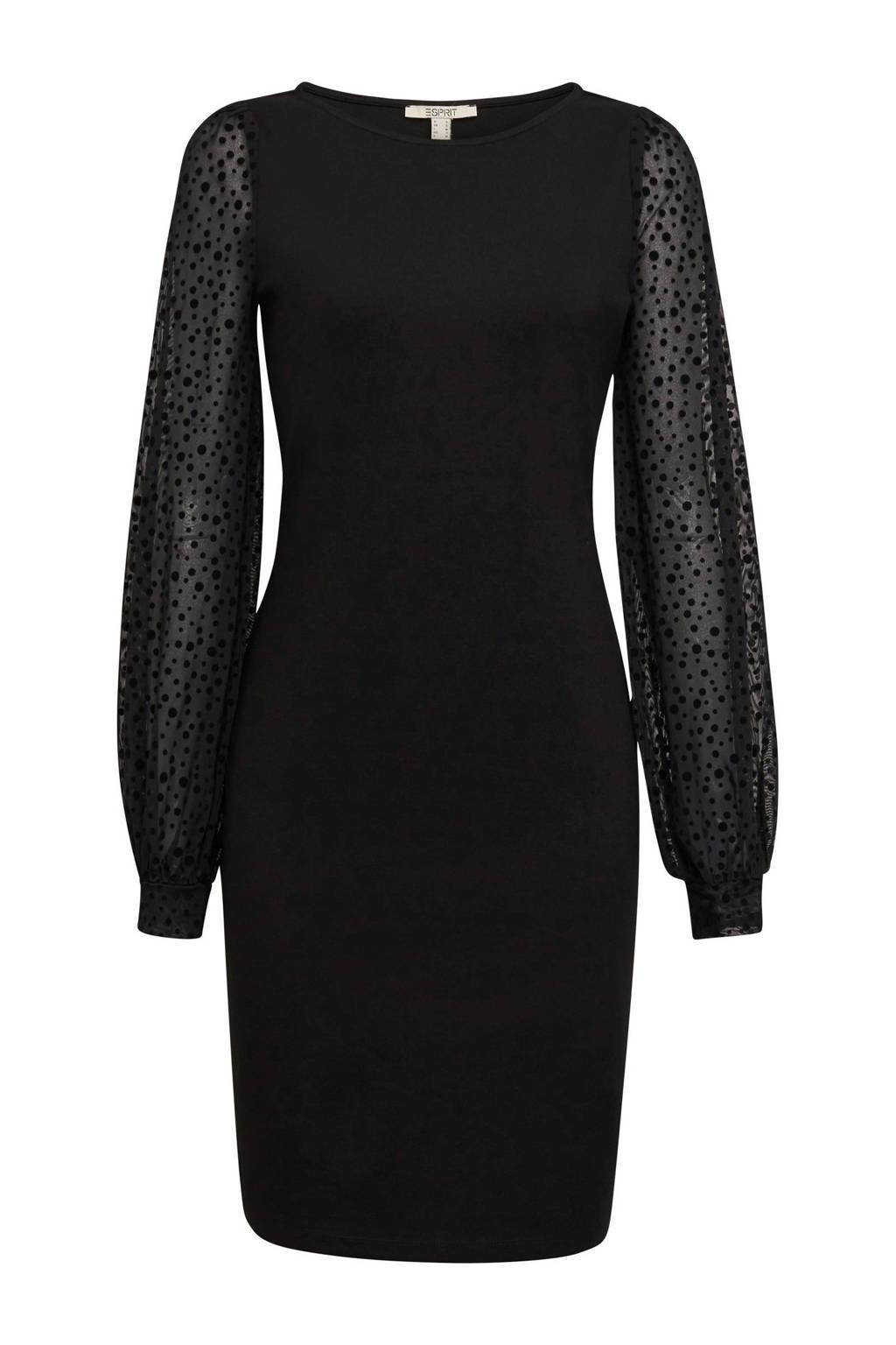 ESPRIT Women Casual semi-transparante jurk zwart, Zwart