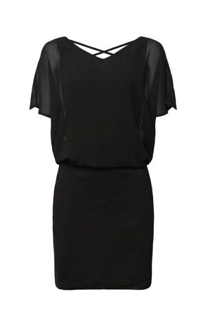 semi-transparante jurk met plooien zwart