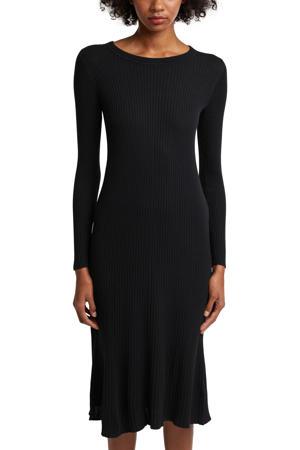ribgebreide jurk met biologisch katoen zwart
