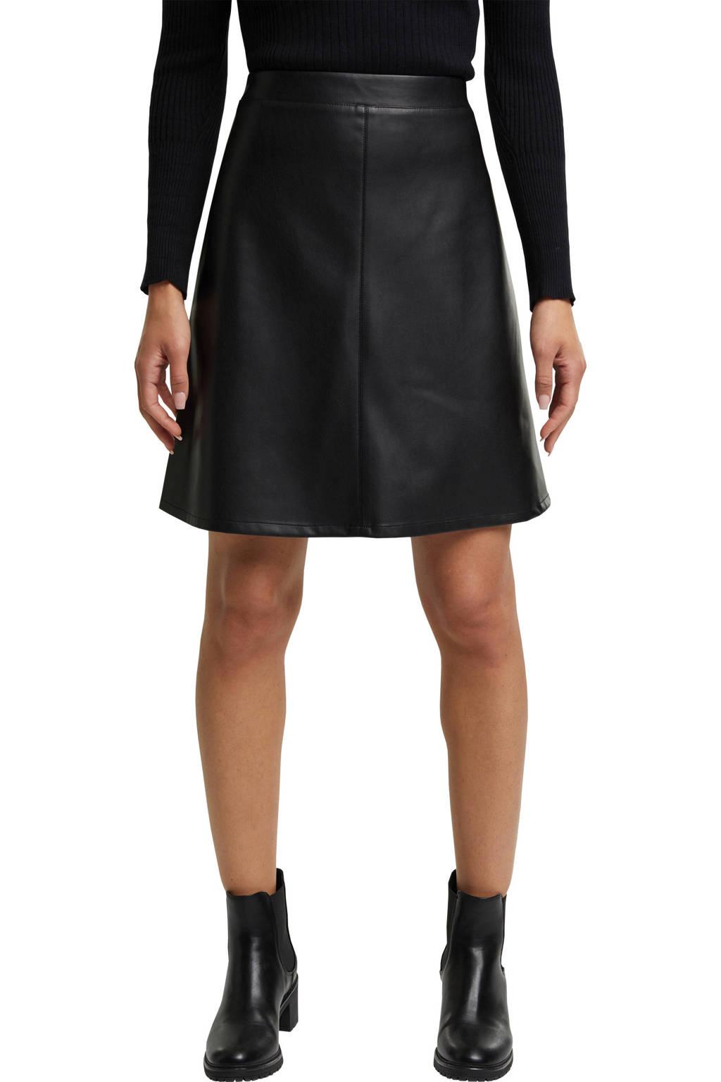 ESPRIT Women Casual coated rok zwart, Zwart