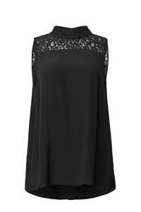 ESPRIT Women Casual top met kant zwart, Zwart