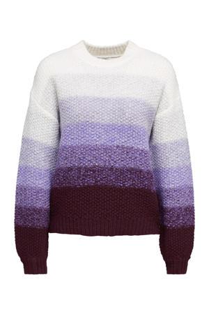 gebreide trui paars/donkerrood/wit