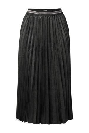 coated rok met glitters zwart/zilver