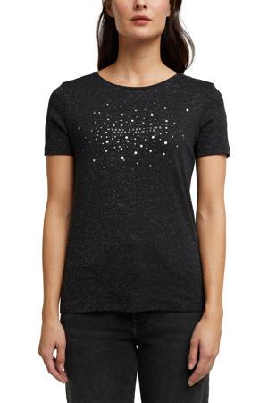 T-shirt met biologisch katoen zwart/zilver/wit