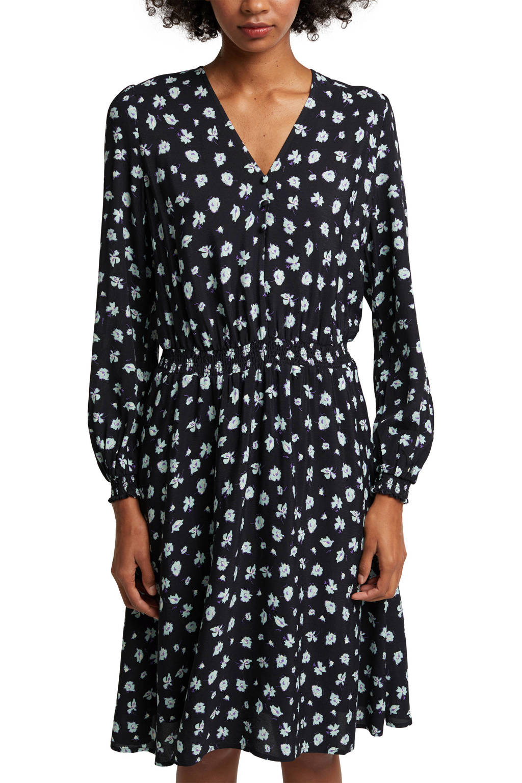 edc Women gebloemde jurk zwart/wit/paars, Zwart/wit/paars