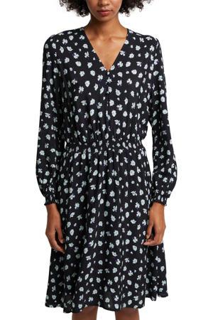 gebloemde jurk zwart/wit/paars