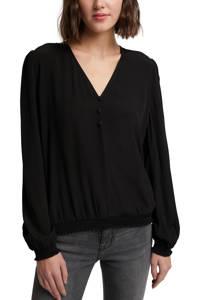 edc Women top met plooien zwart, Zwart
