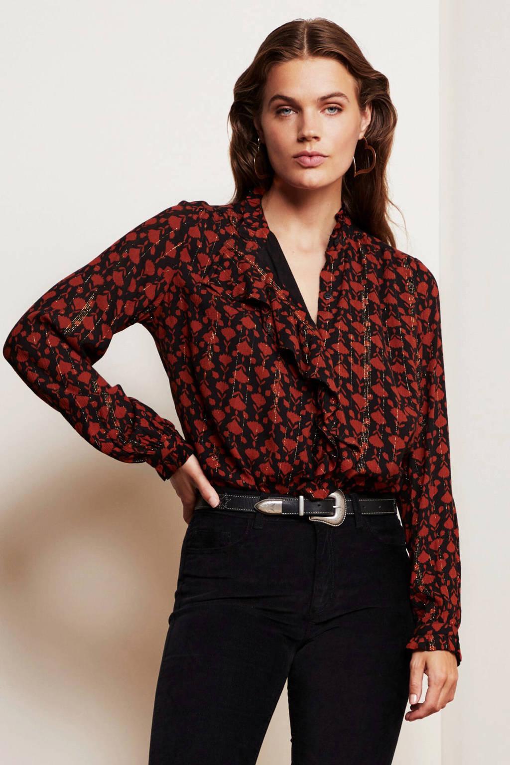 Fabienne Chapot blouse Garden Isa met all over print en glitters zwart/ roodbruin, Zwart/ roodbruin