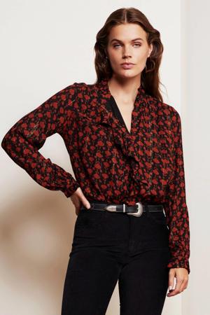 blouse Garden Isa met all over print en glitters zwart/ roodbruin