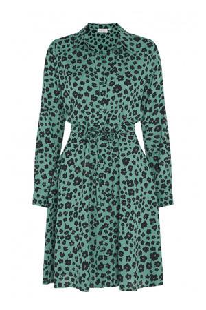 gebloemde blousejurk Ellen groen/ zwart