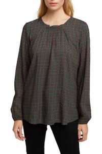 ESPRIT Women Casual top met all over print en open detail donkergroen/rood/groen, Donkergroen/rood/groen