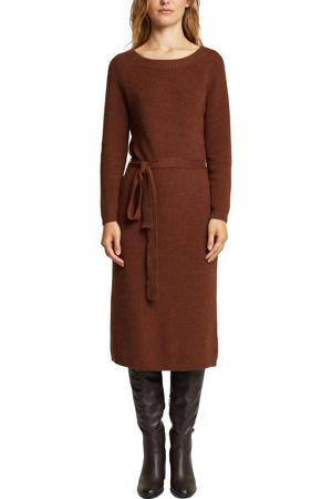 ribgebreide jurk met biologisch katoen roodbruin