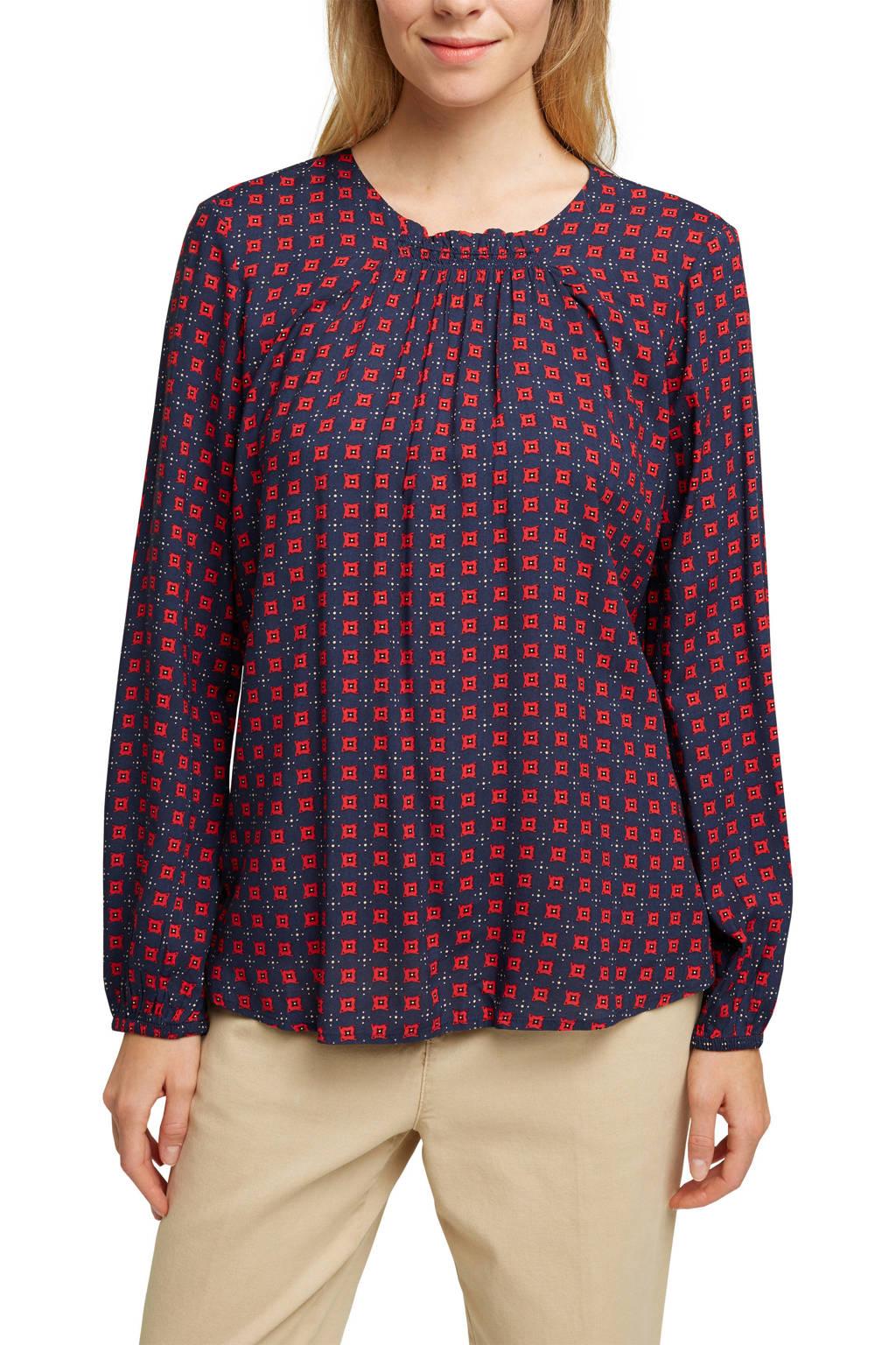 ESPRIT Women Casual top met all over print en open detail donkerblauw/rood, Donkerblauw/rood