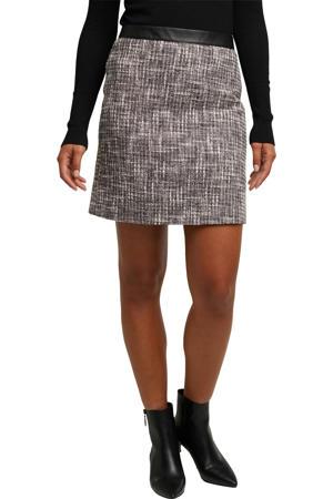 coated rok met jacquard wit/zwart