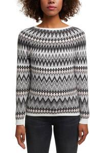 ESPRIT Women Casual fijngebreide trui van biologisch katoen wit/zwart/lichtroze, Wit/zwart/lichtroze