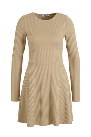 ribgebreide jurk beige