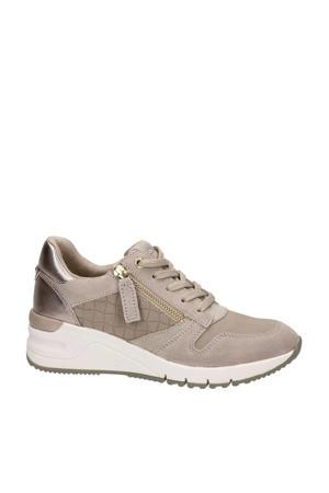 leren wedge sneakers taupe
