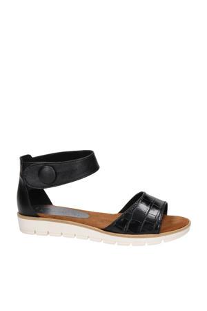 sandalen met crocoprint cognac