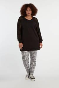 MS Mode sweater met kant zwart, Zwart