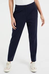 WE Fashion slim fit broek met krijtstreep donkerblauw, Donkerblauw