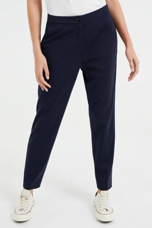 slim fit broek met krijtstreep donkerblauw