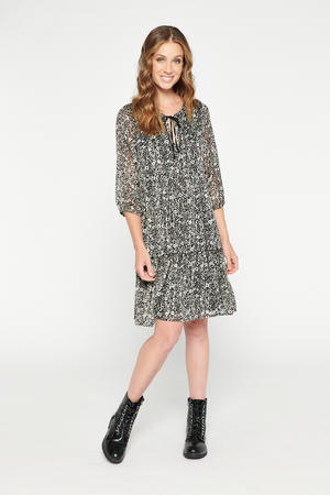 gebloemde semi-transparante jurk zwart/wit