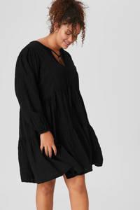 C&A XL Clockhouse jurk met plooien zwart, Zwart