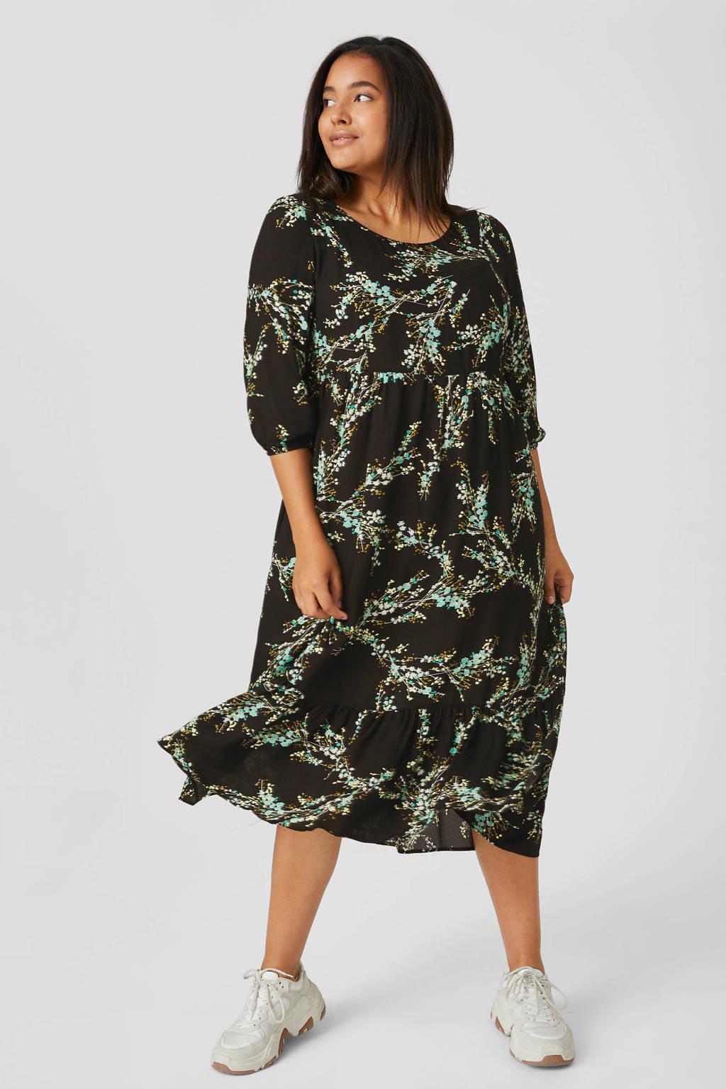 C&A XL Yessica jurk met all over print zwart, Zwart