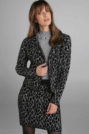 gebreide rok met wol en all over print zwart/lichtgrijs