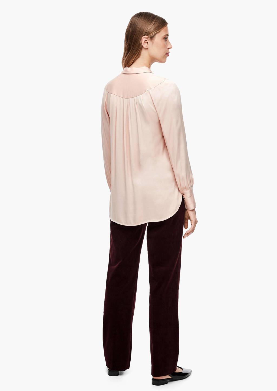 s.Oliver BLACK LABEL semi-transparante blouse met plooien lichtroze, Lichtroze