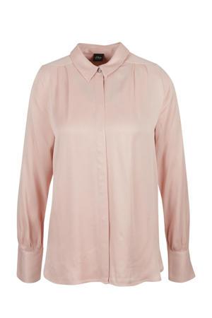 semi-transparante blouse met plooien lichtroze